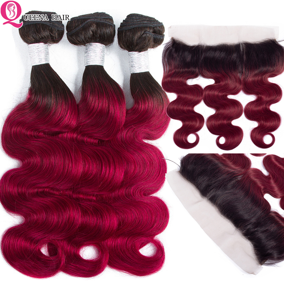 Queena 1b/Burgundy Ombre Body Wave Bundles With Frontal Closure 2 Tone Red Remy Malaysian Hair Colored 3 Bundles With Frontal