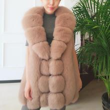 New fashion 2016 fall winter ladies's lengthy actual fox fur vest blue fox fur jacket pure fox fur waistcoat turn-down collar vests