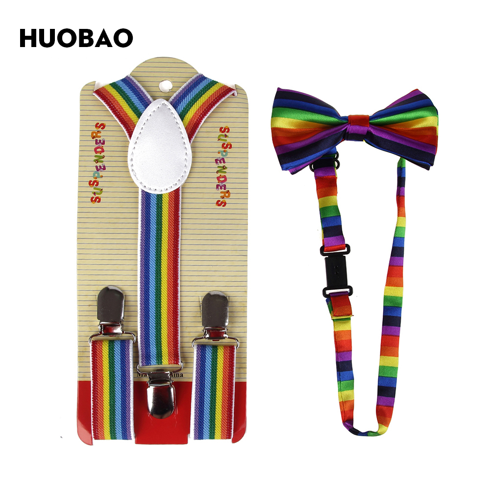 HUOBAO 2018 Rainbow Striped Bow Tie And Suspenders Sets For Kids Children Boys