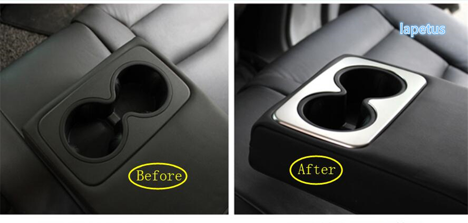 Lapetus Rear Seat Water Cup Holder Decoration Frame Cover Trim Matte ABS Fit For Cadillac XT5 2016 2017 2018 2019