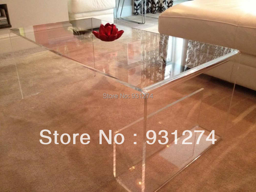 ONE LUX Waterfall Large Clear Acrylic Coffee Tea Table/ Lucite Magazine Table/Perspex Side Table hot sale c shaped waterfall acrylic occasional side table