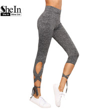 SheIn Women Pants Trousers For Ladies New Style Plain Light Grey High Waist Crisscross Tie Fitness Elastic Leggings