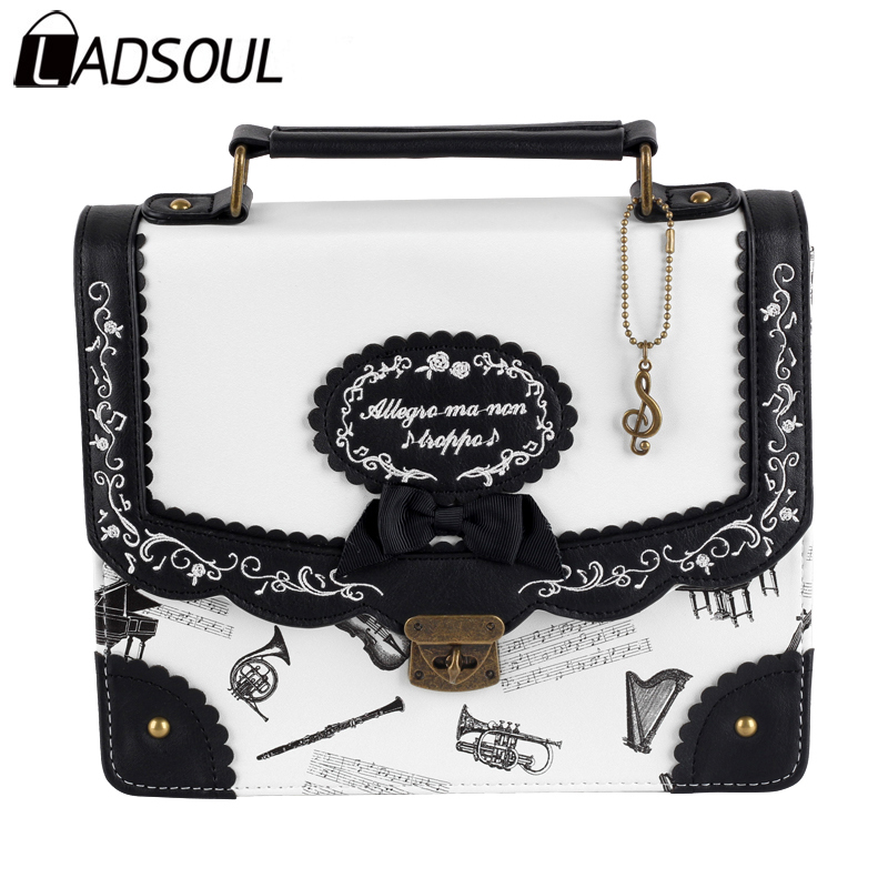 LADSOUL Backpack PU Leather Backpack Women Lolita Preppy Style Letter Bow Lady Bag Bags For Students Female Vintage Bag A5440/h preppy style women backpack letter print mini pu leather backpack schoolbags for teenage girls female backpack rucksack mochilas