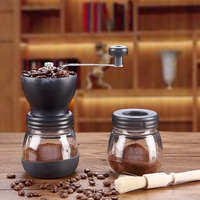 Hand Manual Coffee Grinder Mill For Home Office Ceramic Millstone With 2 Glass Sealed Pots Portable Coffee Mill Easy Cleaning