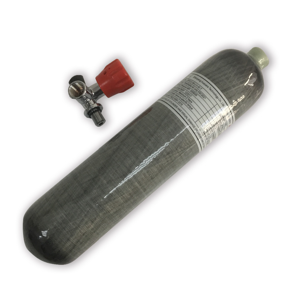 AC10211 Acecare 2L CE Certified 30Mpa 4500psi Carbon Fiber Cylinder For PCP Airsoft Condor With Red Safety Gauge Valve