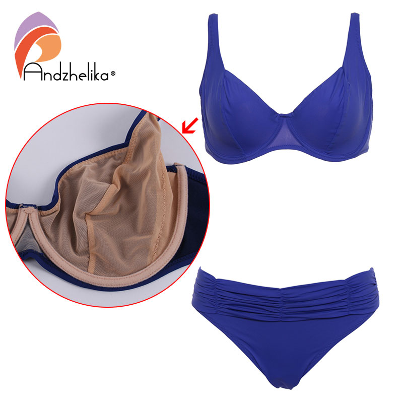 Andzhelika Bikini Sets No Chest Pad Deep Cup Women Swimwear Solid Retro Mesh Halter Bathing Suit