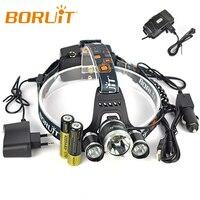 Boruit RJ 5000 8000 Lm 3 Cree XM L2 4Modes LED Headlamp Headlight Camping Hunting Head Lamp +2*18650 Battery + Car USB Charger