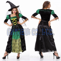 Women Adult Sexy Queen Of Witch Black With Grass Green Ladies Fancy Dress Halloween For Women