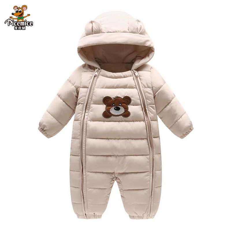 Baby One-Pieces Baby Winter Rompers Bear Cotton Thick Rompers Padded Jacket Kids Parkas Suitable 0-18 Month Baby