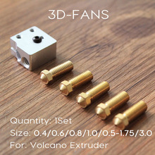 1 Шт. Новый Вулкан Блок и Сопла 3D принтер Все металл, латунь E3D Удлинить экструдер сопла 0.4/0.6/0.8/1.0/1.2 мм Для 1.75/3 мм