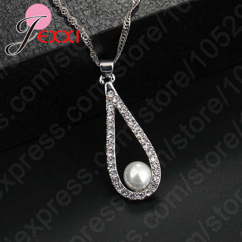 Pure 925 Sterling Silver Shiny CZ Crystal Water Drop Pearl Necklaces For Woman Fine Jewelry Wedding Earring Set Gift