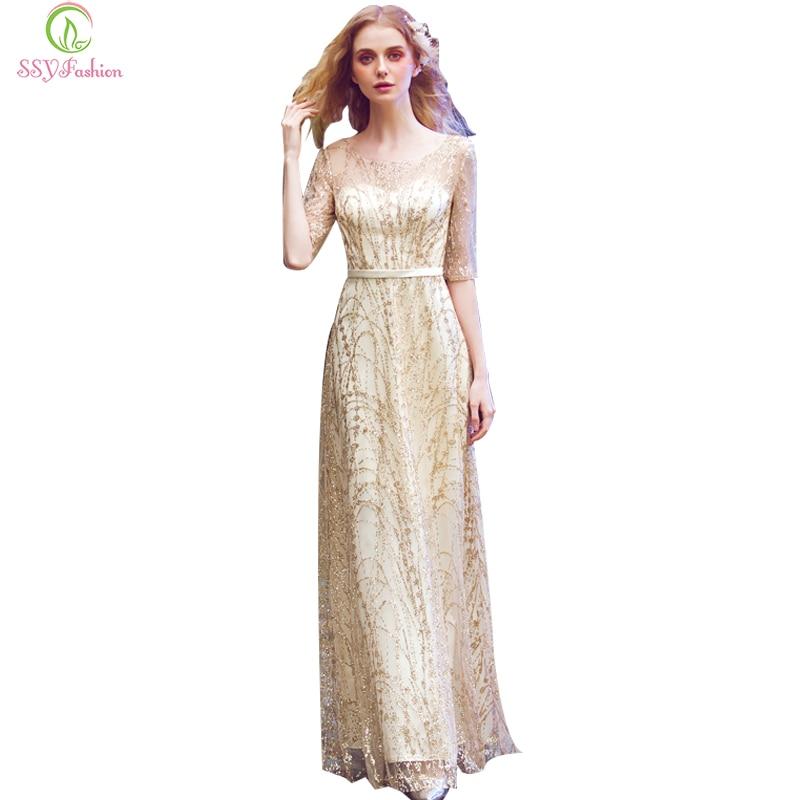 SSYFashion New Simple Elegant Light Gold   Evening     Dress   Bride Banquet Half Sleeved Floor-length Party Formal Gown Robe De Soiree