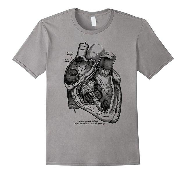 2019 חדש קצר שרוול מזדמן אנטומי לב חולצה רפואי האנטומיה איור קיץ גבר מזדמן T חולצה באיכות טובה