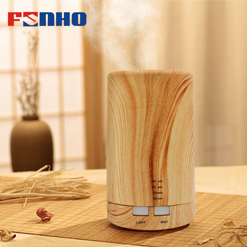 FUNHO Wood Air Aroma Humidifier Led Lights Electric Aromatherapy Essential Oil Aroma Diffuser Oil Cool Mist For Home And Car 213