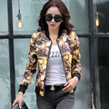 Explosion 2016 coat new women's leather collar Slim  jacket printing baseball uniform