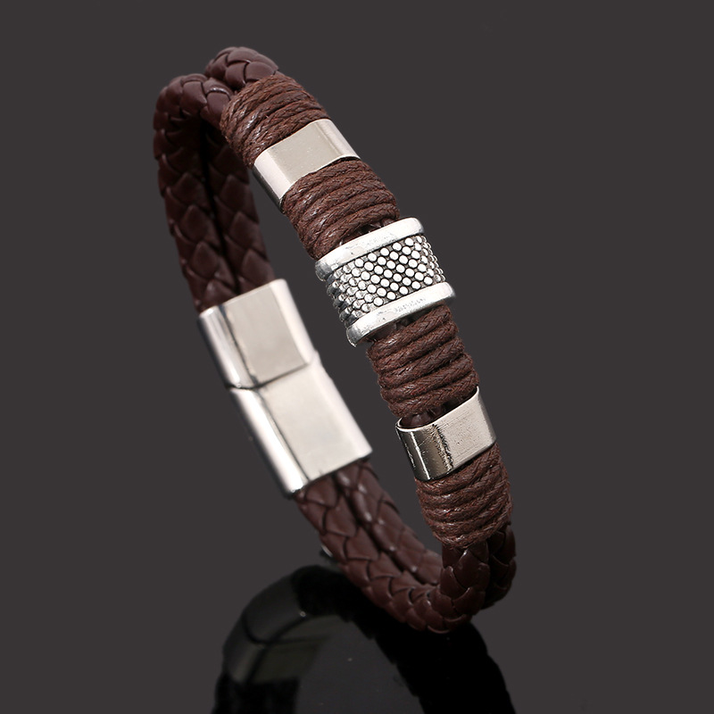 Handmade Genuine Leather Weaved Double Layer Man Bracelets Retro Casual Sporty Bicycle Motorcycle Delicate Cool Men