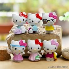 6Pcs/lot Anime Cartoon Seabeach HELLO KITTY Figures Kitty PVC Cut Action Figure Toys Model Dolls Great Gift 3.5cm