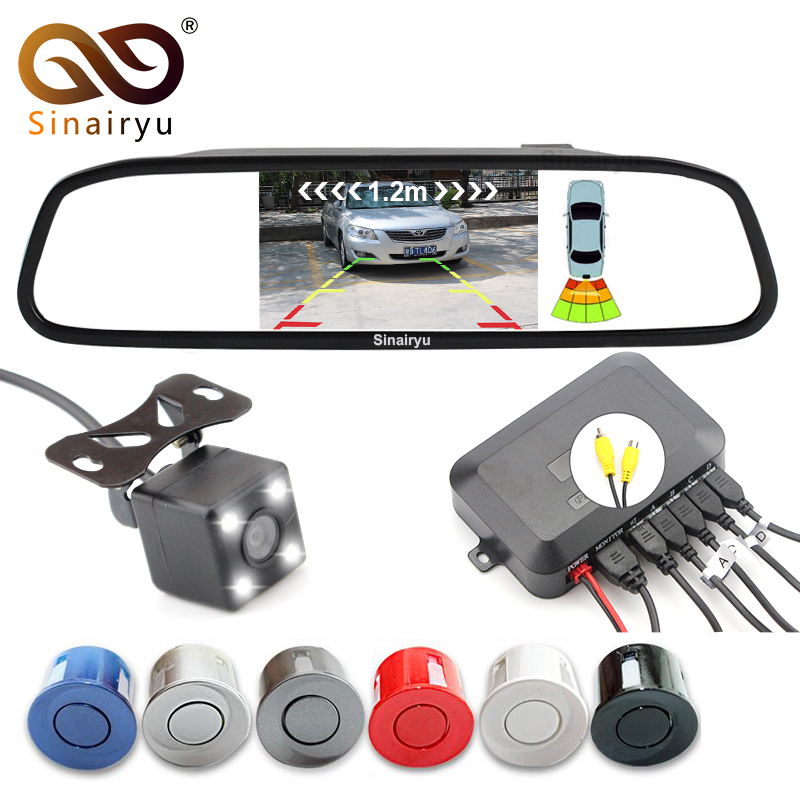 Sinairyu 3in1 Car Video Reverse Parking Sensor Assistance Connect Rear view Camera Can Display Distance on 4.3 Inch Car Monitor sinairyu 3in1 car parking assistance sensor reversing radar video all in one system connect car monitor and rearview camera