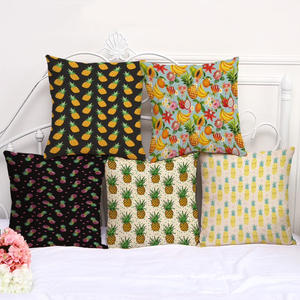 Solar Power Source Decorative Pillow Cushion Case Fruit Pineapple Banana Pillowcase 17.5 Inch Cotton Linen Chair Seat Throw Pillow Cover P1069 High Standard In Quality And Hygiene
