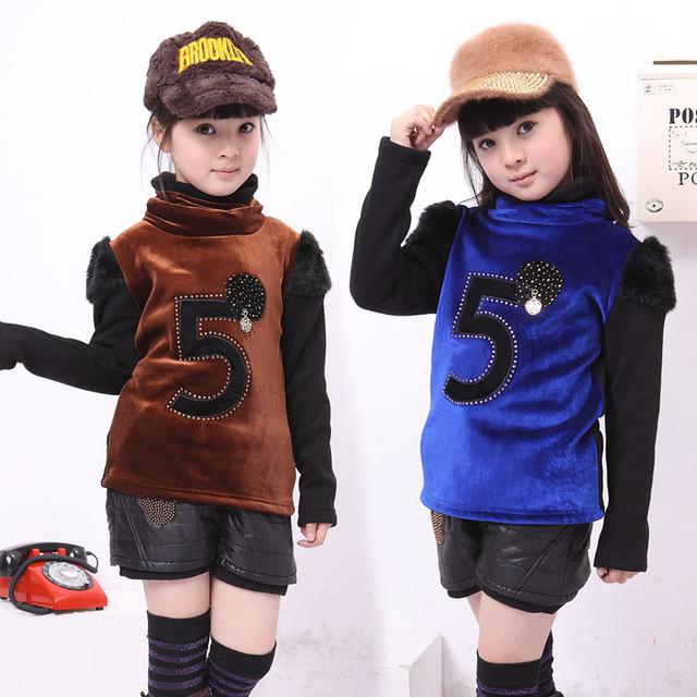 Camisetas para Niñas Ropa Infantil de Cuello Alto Tops Niños Jerseys de Invierno de Terciopelo Patchwork Camisa Tocando Fondo Otoño Sudadera 10
