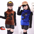 Shirts for Girls Turtleneck Tops Children Pullovers Velvet Winter Infant Clothing Patchwork Bottoming Shirt Autumn Sweatshirt 10