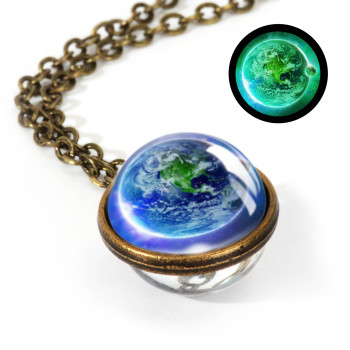 Galaxy Double Sided Pendant Necklace Jewelry Necklaces Women Jewelry Metal Color: LGS0035-Luminous