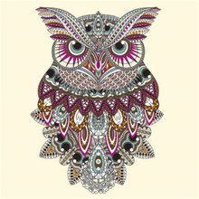Fashion PVC Patch Clothes Large Owl Flower Thermal Transfer Printing T shirt Women iron on patches for clothing Girl Stickers