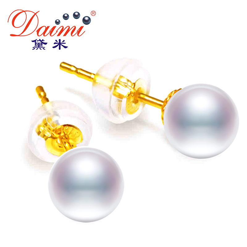 DAIMI G18k Pearl Studs Earrings 7 8mm perfectly round freshwater pearl 18k Yellow Gold Earrings White