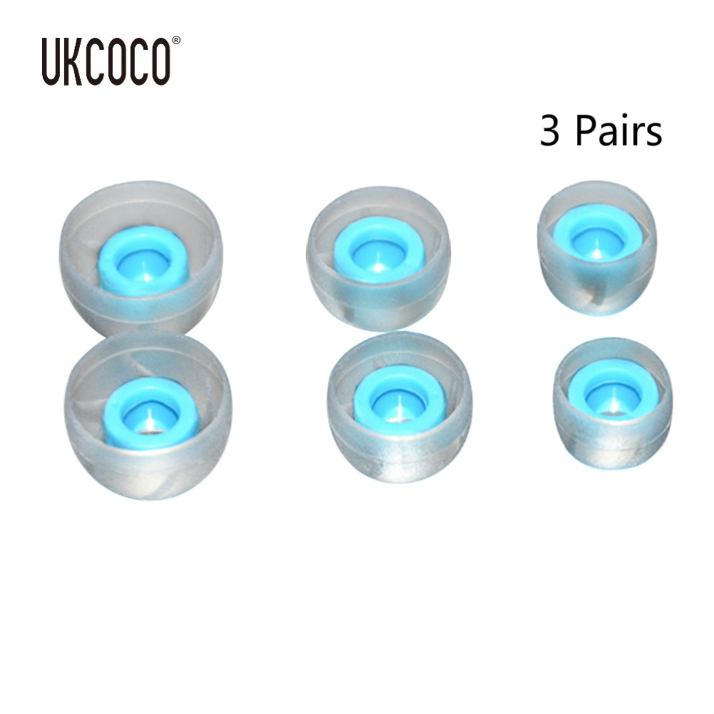 UKCOCO 3 Pairs Tri Size Headphones Caps Replacement Blue