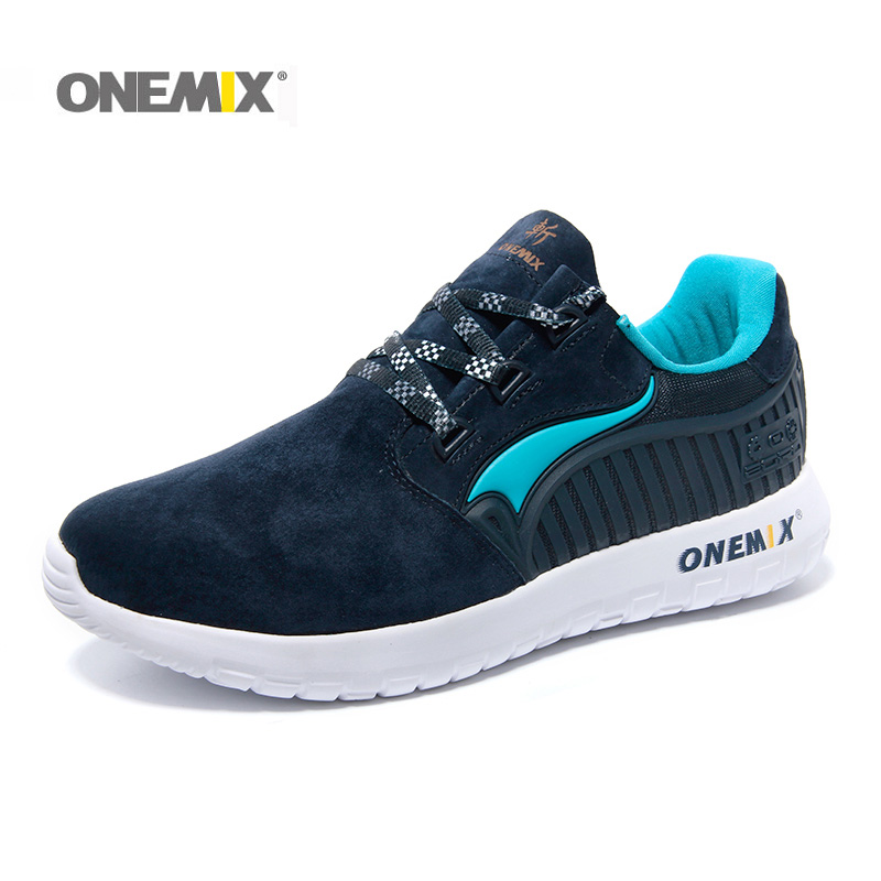 ONEMIX Men's Running Shoes Male chaussures de sport Suede Rubber Comfortable Athletic Shoes for Men Sneakers EUR Size 39-45 peak sport men outdoor bas basketball shoes medium cut breathable comfortable revolve tech sneakers athletic training boots