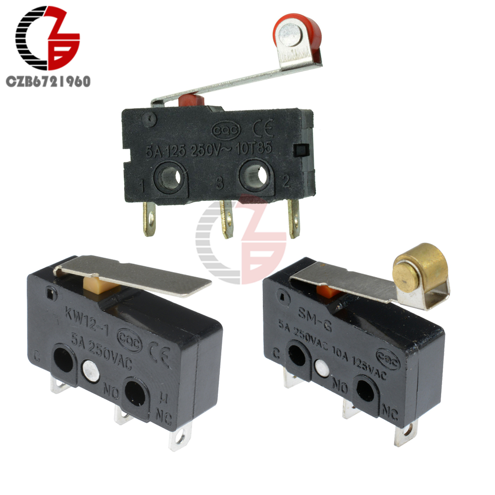10Pcs KW11-3Z KW12-3 Tact Switch 5A 250V Microswitch Micro Switch On-Off Roller Lever Arm Normally Open Close Limit Switch(China)