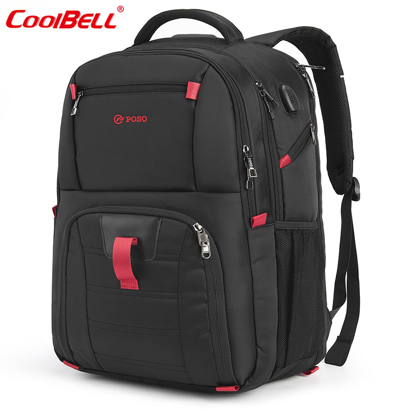 2018 Laptop Bag 17.3 Inch Notebook Backpack School Bag with USB port Waterproof Nylon Men Business Travel Backpacks Laptop Bags 2017 hot sale men 50l military army bag men backpack high quality waterproof nylon laptop backpacks camouflage bags freeshipping
