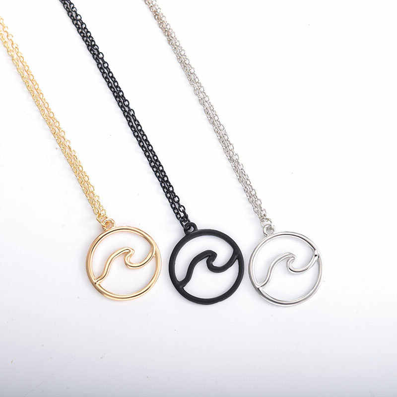 Simple Hoop Wave Figure Dangle Circle Black Silver Golden Necklace for Women