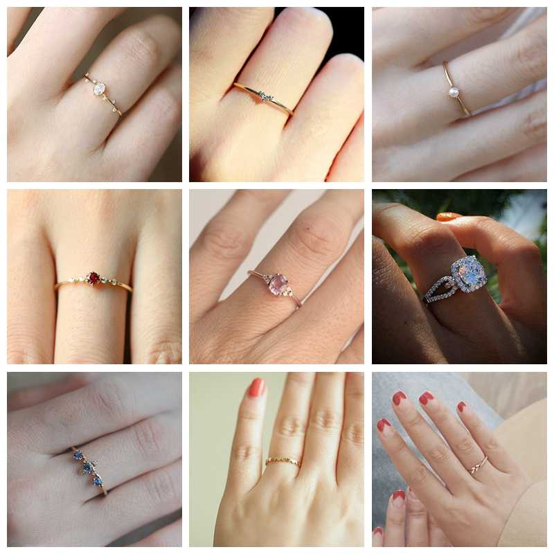 Tisonliz 16 Style Delicate Crystal Rings For Women Female Chic Dainty Thin Rings Rings Wedding Jewelry Bague Femme Wholesale