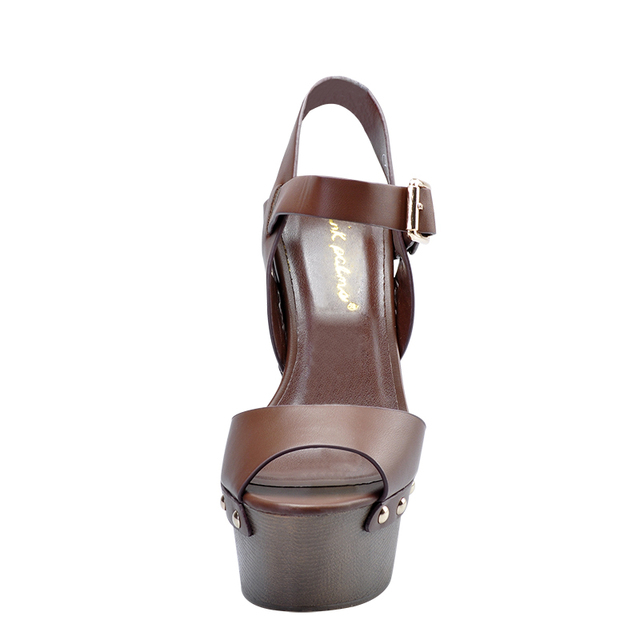 Pink Palms women summer shoes coffee wedge women rivets decoration high heels peep toe ankle strap comfortable party sandals