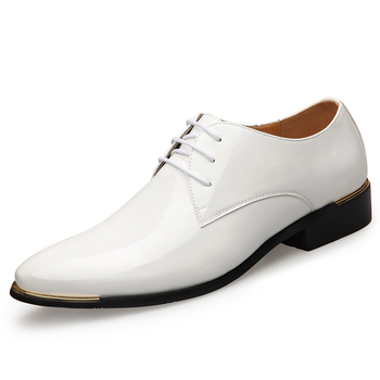 2019 Newly Men's Quality Patent Leather Shoes White Wedding Shoes Size 38-48 Black Leather Soft Man Dress Shoes 1