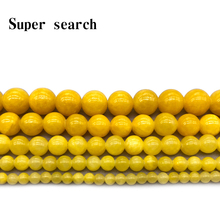 Natural Stone Yellow Jaspers Round Beads Bracelet Necklace Woman15 Strand 4 6 8 10 12MM Pick Size For Jewelry Making