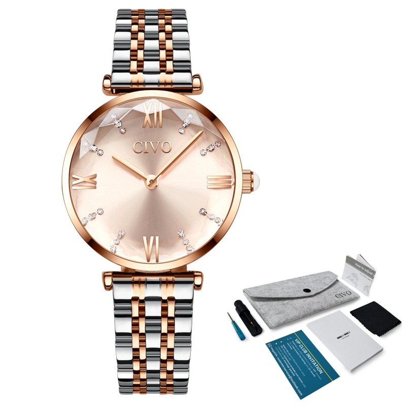 Luxury Crystal  Waterproof Rose Gold Steel Strap Ladies Wrist Watches  5