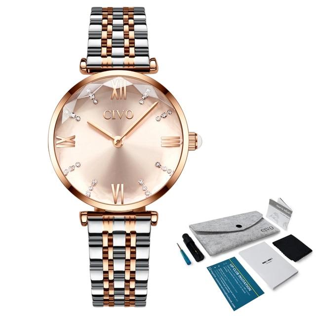 Luxury Crystal  Waterproof Rose Gold Steel Strap Ladies Wrist Watches  5
