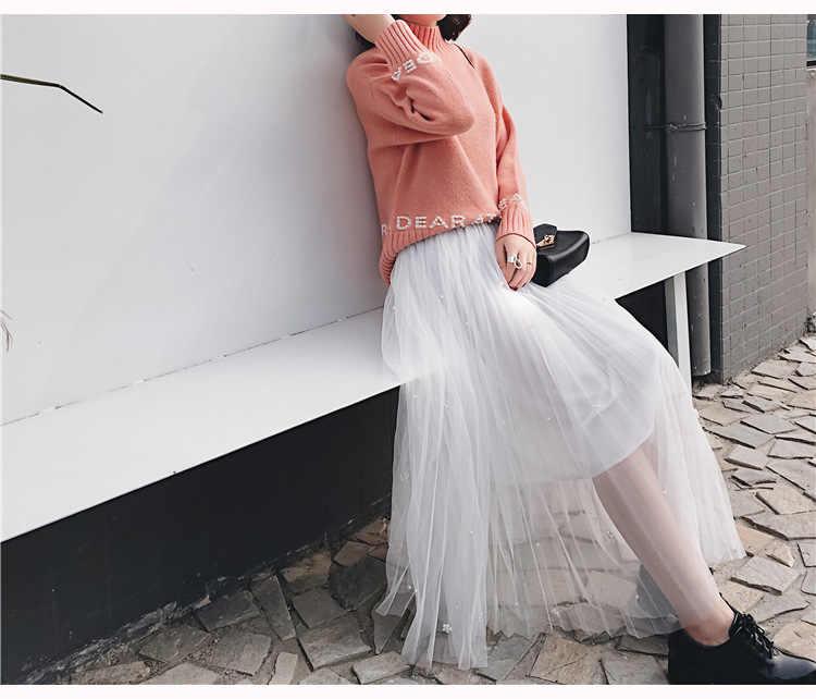 Юбка из тюля для женщин плиссированная летняя юбка женская одежда 2018 модная свободная плиссированная юбка Бисероплетение художественная сетка макси юбка CH132