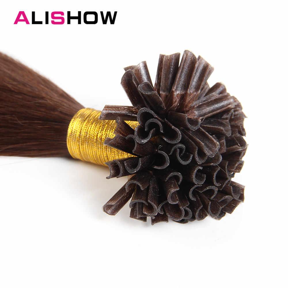 """Волосы Alishow 1 г/локон Remy Предварительно скрепленные человеческие волосы для наращивания прямые 16 """"18"""" 20 """"22"""" U Кончик Кератин наращивание волос fusion Hair 50 шт."""