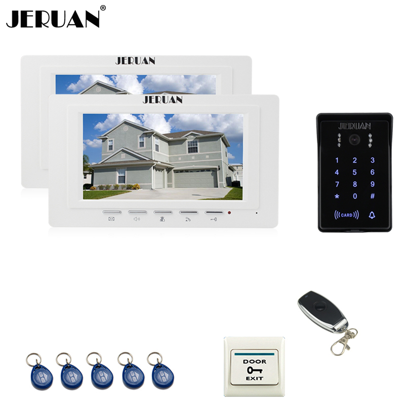 JERUAN 7`` Video Intercom Video Door Phone System 2 brand new monitor RFID Waterproof Touch key Camera+Remote control Unlocked jeruan luxury 7 lcd video doorphone intercom system 2 monitor rfid waterproof touch key password keypad camera remote control