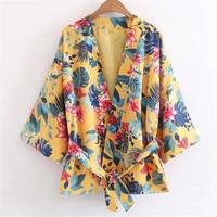Màu vàng hoa in kimono Nhật Bản bọc tops batwing tay áo áo phụ nữ kimono cardigan với sash quá khổ mở stitch coat