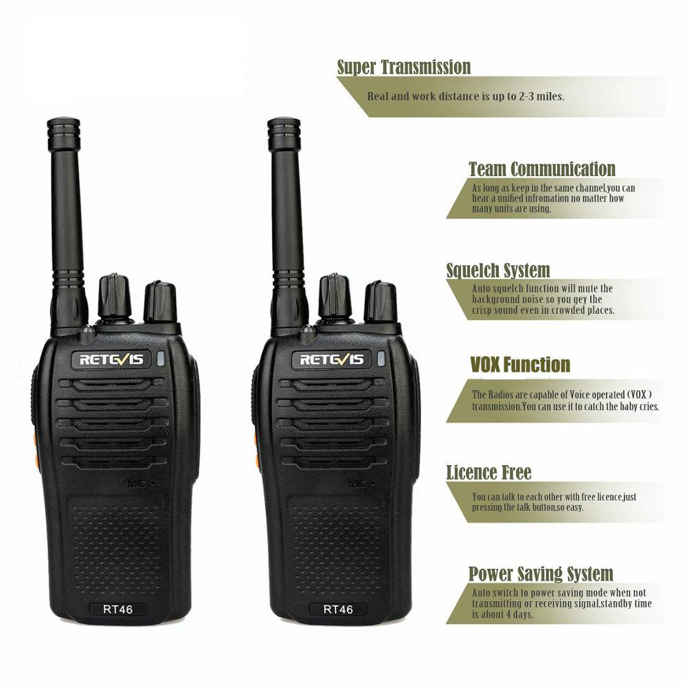 Image 3 - A Pair RETEVIS RT46 Walkie Talkie PMR Radio PMR446/FRS Portable Two Way Radio VOX Micro USB Charging  Li ion (or AA) Battery-in Walkie Talkie from Cellphones & Telecommunications