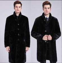 Winter slim long trench coat mens faux mink fur coats thicken warm overcoat leather chaqueta hombre stand collar