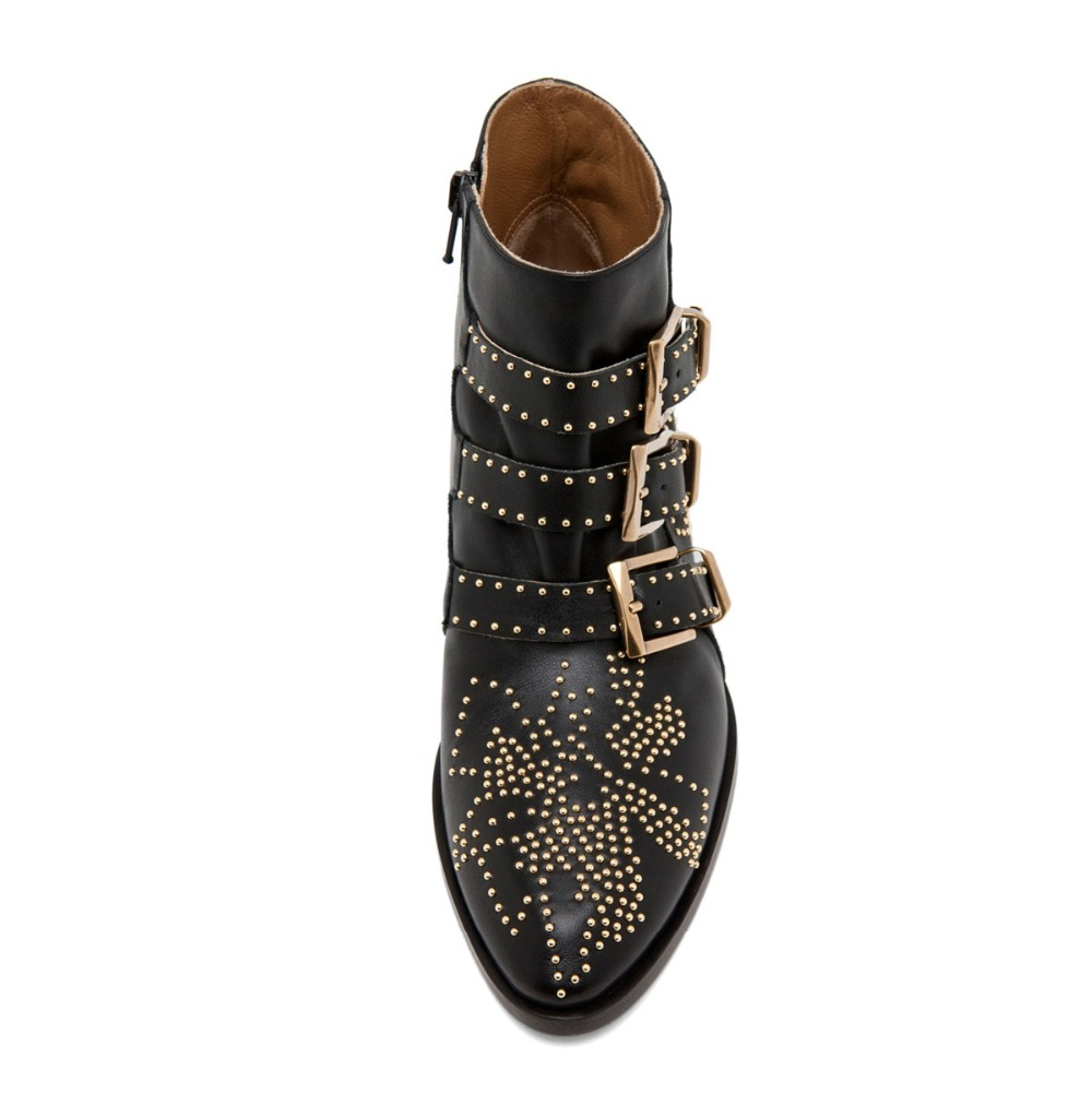 2019 New Leather Rivets Booties Buckle Straps Thick Heel Black Ankle Boots Studded Decorated Motorcycle Boots Woman Riding boots in Ankle Boots from Shoes