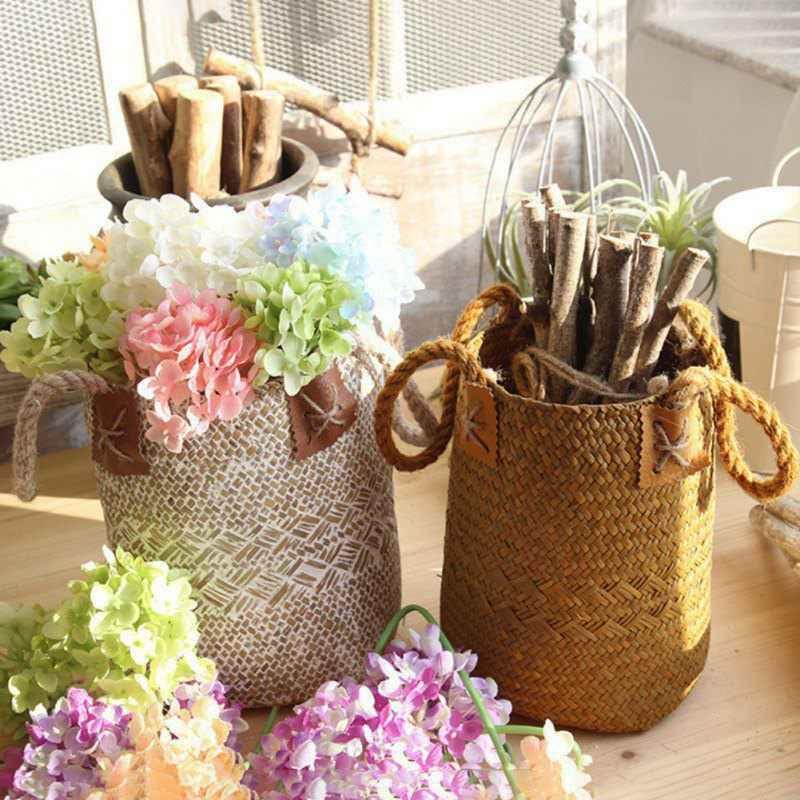 2019 Casa e Jardim De Armazenamento Seagrass Cesto de roupa suja Dobrável Cestas Cestas de Suspensão Vasos de Flores Plantador Do Rattan Organizador Nova