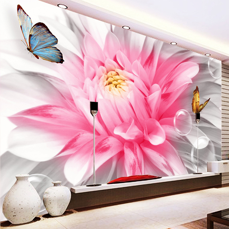 Custom 3D Mural Wallpaper Modern Romantic Pink Flowers Butterfly Photo Wall Painting Mural Living Room Bedroom Backdrop Wall 3 D