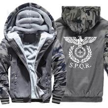 Thicken Hoodies Men Streetwear Harajuku Male Camouflage sleeve Sweatshirts Winter Warm Coat Zipper Casual Jacket SPQR Roman Tops