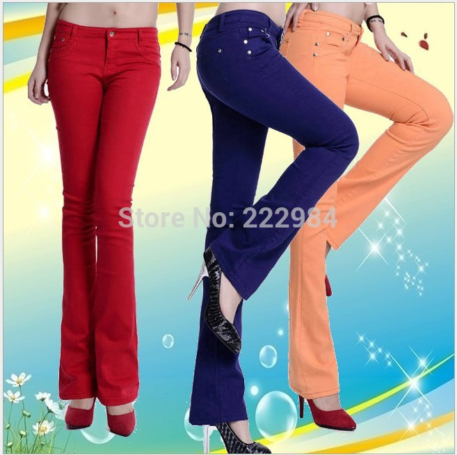2019 Autumn Winter Fashion Casual Candy Color Cotton Female Women Girls Stretch Lengthen Slightly Flare Trousers Pants Clothing